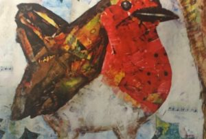 Christmas Robin collage - Pewsey Dementia Art Group