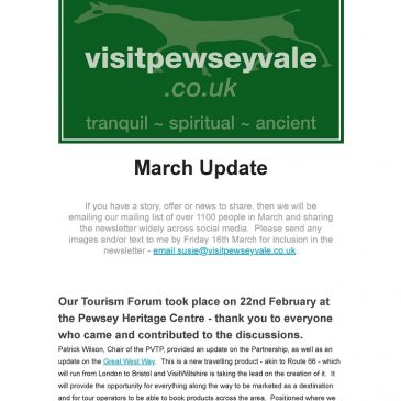 March Update from the Pewsey Vale Tourism Partnership